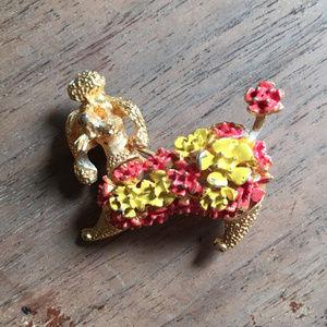 MCM Poodle & Flowers Brooch